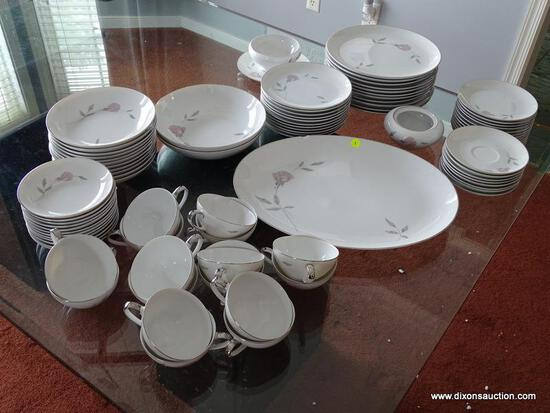 (DR) SET OF MIKASA, PRIMROSE STYLE, FINE CHINA; LOT TO INCLUDE 11 DINNER PLATES, 11 SALAD PLATES, 12