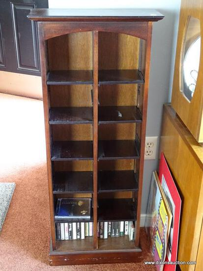 "(DR) PIER 1 IMPORTS CD RACK; MAHOGANY FINISHED CD RACK WITH 10 ADJUSTABLE SHELVES. MEASURES 16.5"" X"