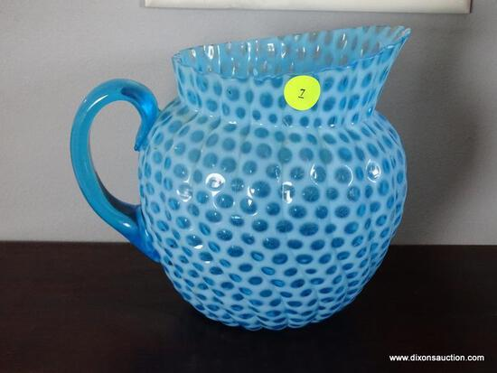 "(DR) BLUE GLASS PITCHER; AWESOME, SPIRAL SHAPED GLASS PITCHER. MEASURES 6.5"" TALL."