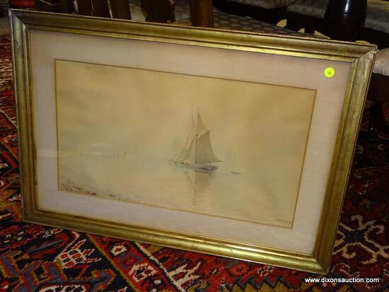 (LEFT WALL) FRAMED WATERCOLOR; FRAMED AND MATTED WATERCOLOR OF SAILBOATS BY R. BAUD IN VINTAGE GOLD