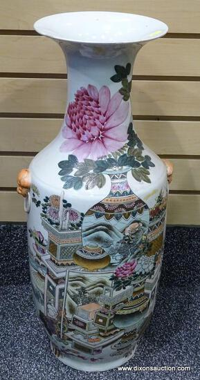 (LEFT WALL) ORIENTAL VASE; EARLY 20TH CEN. ROSE MEDALLION VASE WITH APPLIED LION HEADS- 24 IN H