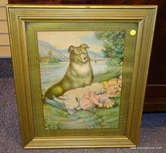 "(LEFT WALL) FRAMED VICTORIAN PRINT; FRAMED 1906 VICTORIAN PRINT OF GIRL AND DOG TITLED "" TOUCH HER"