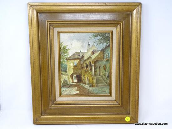 (LEFT WALL) FRAMED OIL ON CANVAS; FRAMED OIL ON CANVAS OF EUROPEAN STREET SCENE SIGNED M. SCHONY IN
