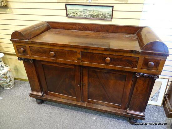 (LEFT WALL) EMPIRE SIDEBOARD; 19TH CEN. MAHOGANY EMPIRE SIDEBOARD- HAS UNUSUAL ROUNDED EDGE GALLERY