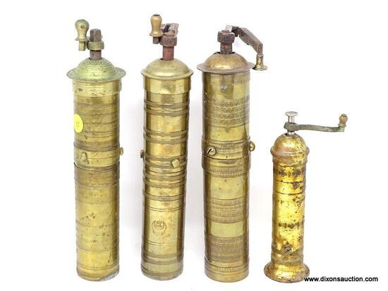 (LEFT WALL) BRASS PEPPER GRINDERS; FOUR MIDDLE EASTERN BRASS PEPPER GRINDERS- 3- 12 IN H AND 1- 8 IN