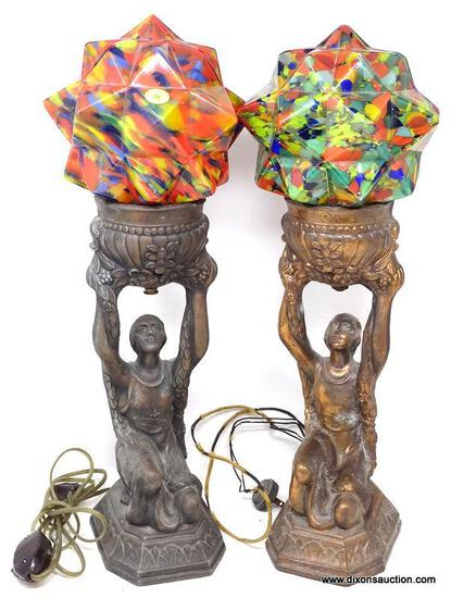 (LEFT WALL) PR. OF ART DECO LAMPS; PR OF SMELTER ART DECO LAMPS WITH MULTICOLOR SHADES (SHADES NOT