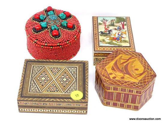 (LEFT WALL) 4 TRINKET BOXES; MAHOGANY MIDDLE EASTERN INLAID TRINKET BOX- 4 IN X 4 IN, MIDDLE EASTERN