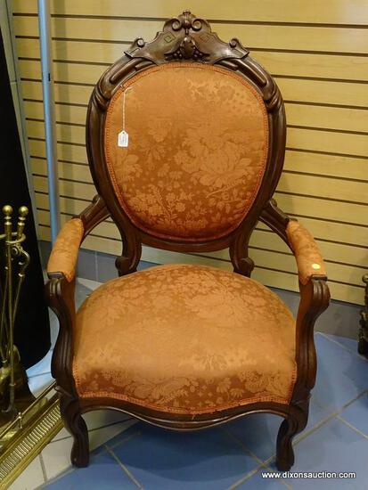 (LEFT WALL) VICTORIAN CHAIR; 19TH CEN. WALNUT VICTORIAN GENTLEMAN'S CHAIR- CARVED CREST, KNEES AND