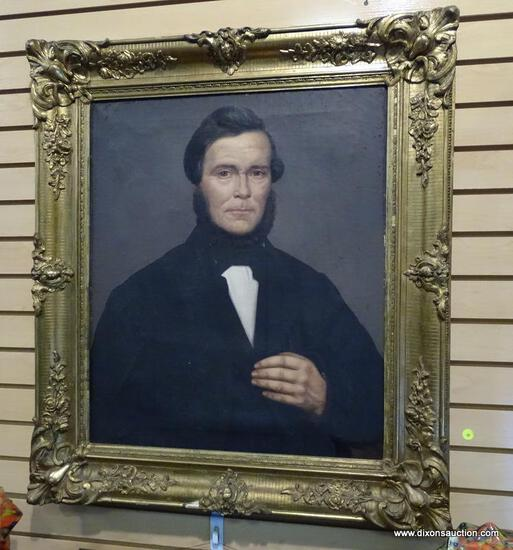 (LEFT WALL) 19TH CEN. PORTRAIT; 19TH CEN. OIL ON CANVAS PORTRAIT OF GENTLEMAN ( POSSIBLY HUSBAND TO