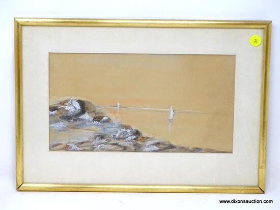 (LEFT WALL) FRAMED WATERCOLOR; FRAMED AND MATTED WATERCOLOR OF SEASCAPE WITH SAILBOAT IN GOLD FRAME-