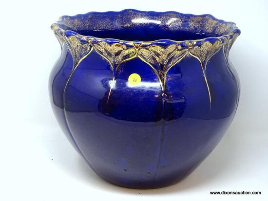 (LEFT WALL) ANTIQUE JARDENIERE; ANTIQUE COBALT BLUE AND GOLD PAINTED JARDINIERE- 13 IN DIA. X 12 IN