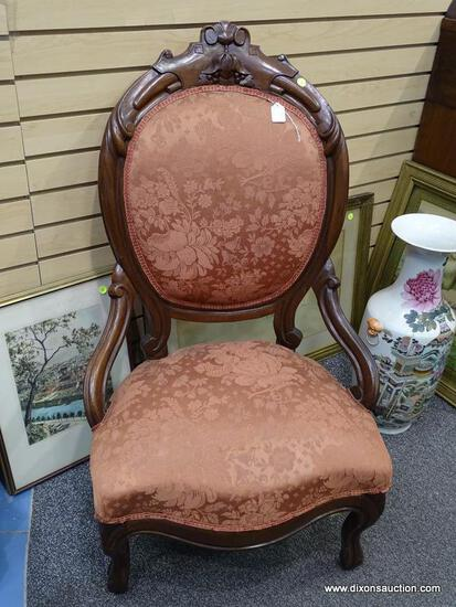 (LEFT WALL) VICTORIAN CHAIR; 19TH CEN. WALNUT VICTORIAN LADIES CHAIR- CARVED CREST, KNEES AND FEET