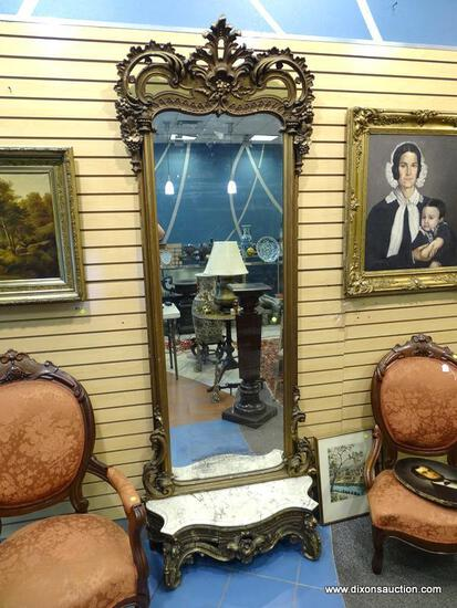 (LEFT WALL) PIER MIRROR; VICTORIAN 19TH CEN. GOLD GILDED PIER WITH MARBLE BASE ( 2 PIECES)- HEAVILY