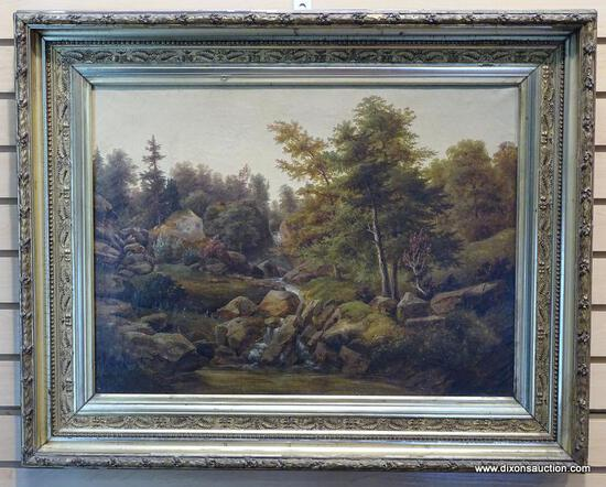 (LEFT WALL) 19TH CEN. OIL PAINTING; UNSIGNED 19TH CEN. OIL PAINTING OF A LANDSCAPE IN PERIOD GOLD