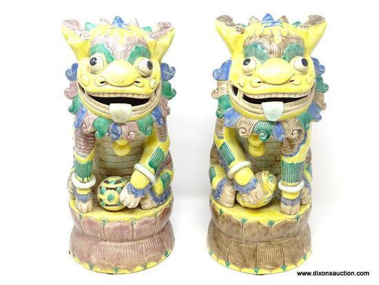 (LEFT WALL) FOO DOGS; PAIR OF ORIENTAL FOO DOGS WITH SCRIPT MARKING UNDER BASE- 15 IN H.