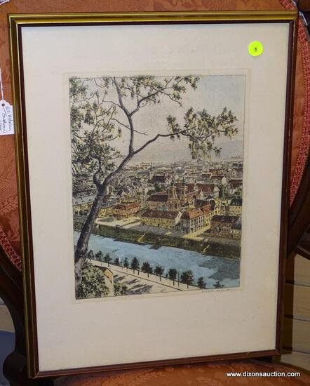 (LEFT WALL) COLORED ENGRAVING; ARTIST SIGNED WATERCOLOR ENGRAVING OF EUROPEAN CITY BY ? HOFMANN IN