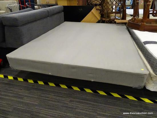 QUEEN SIZE BOX SPRING AND METAL BED FRAME.