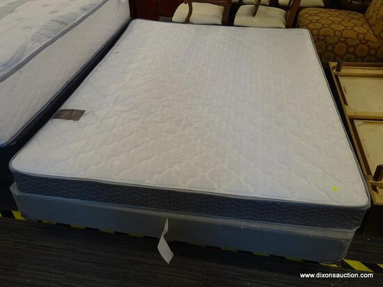 MAXWELL ASHBY, AVALON COLLECTION, BRONZE, QUEEN SIZE MATTRESS WITH BOX SPRING AND METAL BED FRAME.