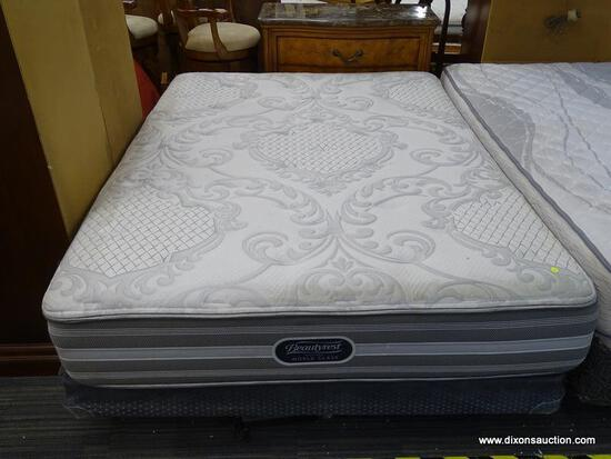 BEAUTYREST, RECHARGE WORLD CLASS, QUEEN SIZE MATTRESS WITH BOX SPRING AND METAL BED FRAME.