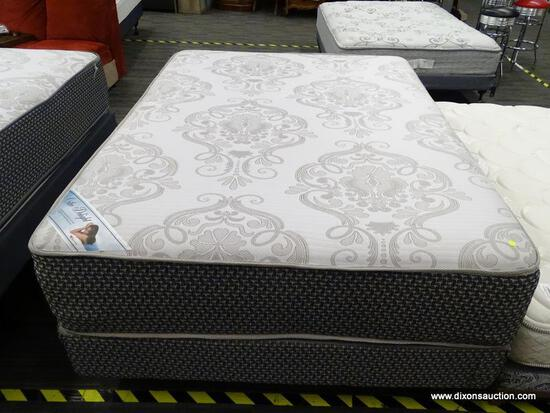 ORTHO DELIGHT QUEEN SIZE MATTRESS WITH A MATCHING BOX SPRING AND METAL BED FRAME.