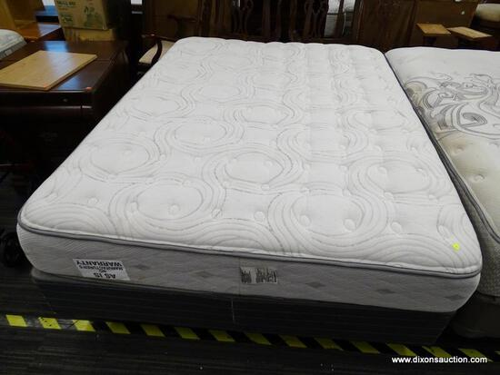 SERTA MATTRESS 1ST, DILLON STYLE, QUEEN SIZE MATTRESS WITH BOX SPRING AND METAL BED FRAME.