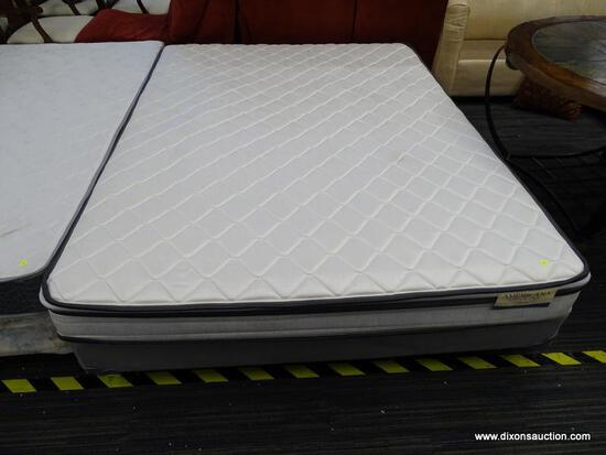 AMERICANA COLLECTION, CORONA, QUEEN SIZE MATTRESS WITH BOX SPRING AND METAL BED FRAME.