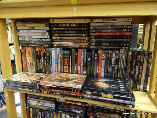 (R2) SHELF LOT OF DVD'S; LOT INCLUDES MUMMY; SPIDER-MAN, BOURNE IDENTITY, HUNGER GAMES AND