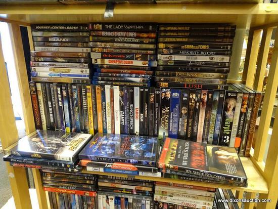 (R2) SHELF LOT OF DVDS; LOT INCLUDES LORD OF THE RINGS, STAR WARS 1-3, CHEAPER BY THE DOZEN, STAR