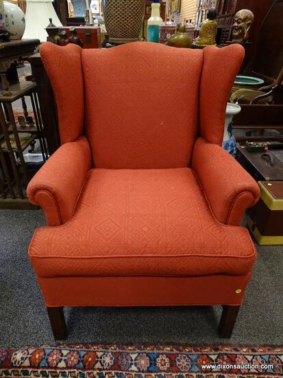(R2) WING CHAIR; MAHOGANY CHIPPENDALE WING CHAIR IN RED MOSAIC PATTERN UPHOLSTERY- EXCELLENT