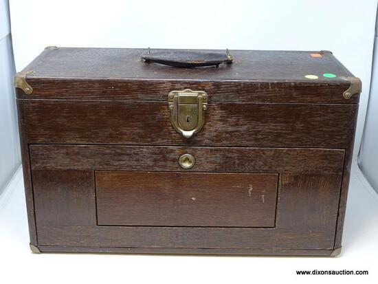 (R2) VINTAGE MACHINISTS CHEST; VINTAGE OAK 6 DRAWER MACHINIST CHEST- 20 IN X 8.5 IN X 12 IN