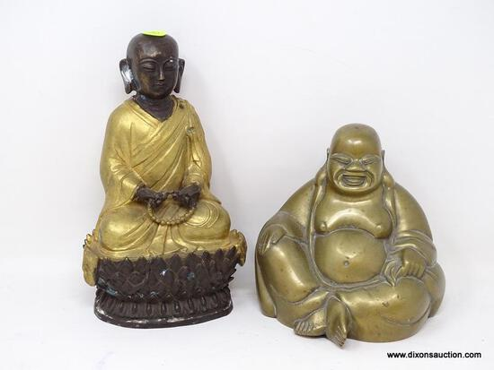 (R2) ORIENTAL LOT; BRONZE AND GOLD TONED MONK STATUE- 9 IN H AND A BRASS BUDDHA- 6 IN H