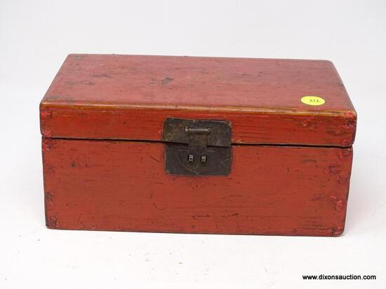 (R2) ORIENTAL BOX; WOODEN PAINTED ORIENTAL DOVETAIL DOCUMENT BOX- 9.75 IN X 4.5 IN X 5.5 IN
