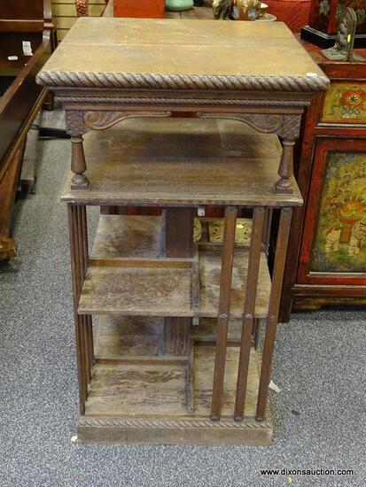 (R2) ANTIQUE BOOKCASE; ANTIQUE OAK REVOLVING BOOKCASE MISSION REVOLVING BASE- BEADED EDGE WITH TOP
