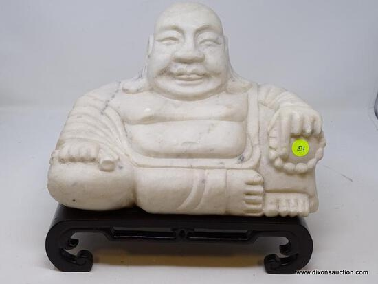 (R2) MARBLE BUDDHA; ORIENTAL MARBLE BUDDHA ON ROSEWOOD STAND- 12 IN X 6 IN X 11 IN