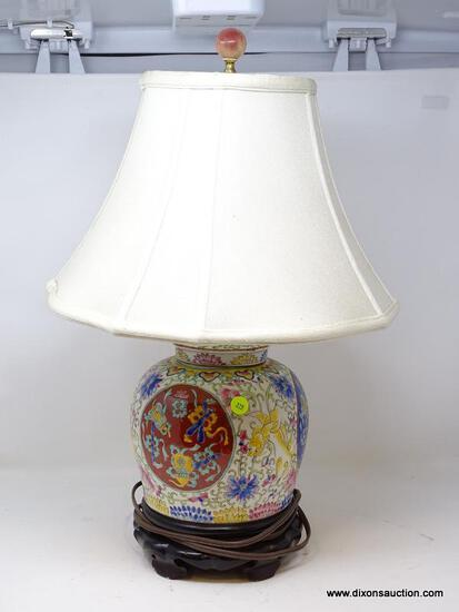(R2) ORIENTAL LAMP; HAND PAINTED ORIENTAL PORCELAIN LAMP WITH CLOTH SHADE- 21 IN H