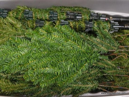(SHELVES) TUB LOT OF LIGHTED CHRISTMAS TREE PARTS. DISSASSEMBLED PARTS TO A LIGHTED CHRISTMAS TREE.