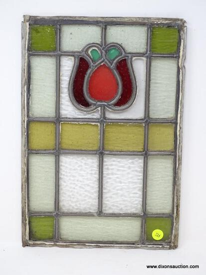 (RFRT) STAINED GLASS; UNFRAMED ANTIQUE STAINED GLASS PANEL- 10.5 IN X 15.5 IN