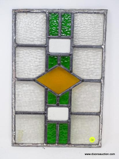 (RFRT) STAINED GLASS; UNFRAMED ANTIQUE STAINED GLASS PANEL- 11.5 IN X 17.5 IN