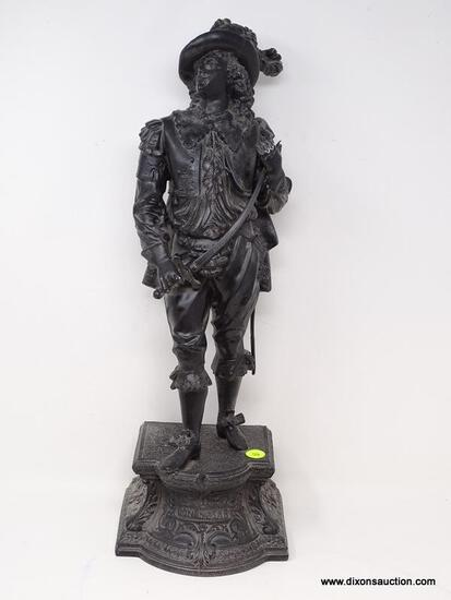 (RFRT) ANTIQUE STATUE; ANTIQUE SMELTER METAL STATUE OF MUSKETEER DON CAESAR- 19 IN H.