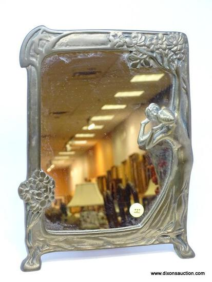 (RFRT) BRASS MIRROR; BRASS ART NOUVEAU MIRROR WITH EMBOSSED FLOWERS AND WOMAN IN LONG FLOWING DRESS-
