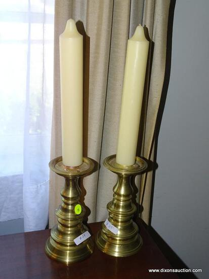 (LR) PAIR OF VIRGINIA METALCRAFTERS COLONIAL WILLIAMSBURG BRASS CANDLESTICKS; 2 PIECE SET OF 7.5""