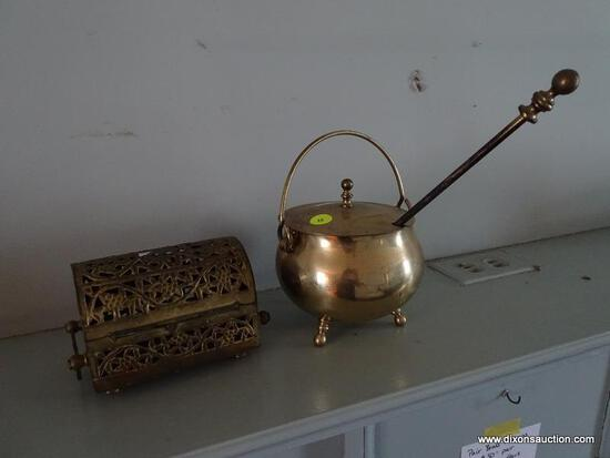 (LR) METAL BOX AND LIDDED FIRE STARTER SMUDGE POT W/ WAND; 2 PIECE LOT TO INCLUDE A BRASS FIRE