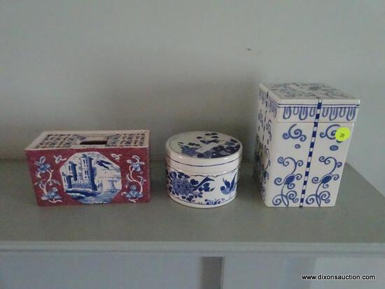 (LR) LOT OF DELFT COLONIAL WILLIAMSBURG PORCELAIN ITEMS; 3 PIECE LOT TO INCLUDE A FLOWER BRICK, A