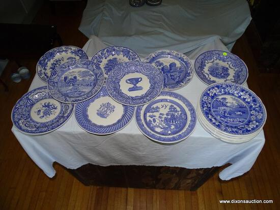 (LR) LOT OF SPODE BLUE ROOM COLLECTION DINNER PLATES; 18 PIECE LOT OF SPODE BLUE ROOM DINNER PLATES
