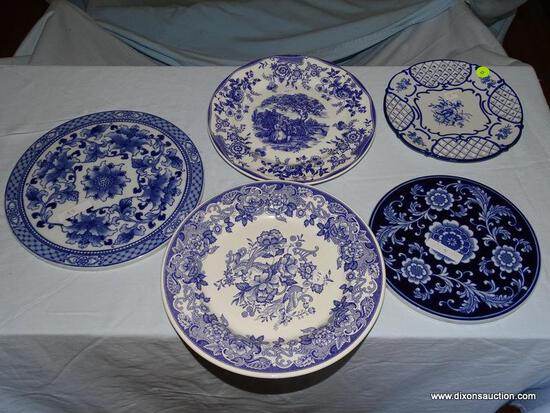 (LR) LOT OF ASSORTED BLUE AND WHITE CHINA; 5 PIECE LOT TO INCLUDE A PIERCED RIM DECORATIVE PLATE, A