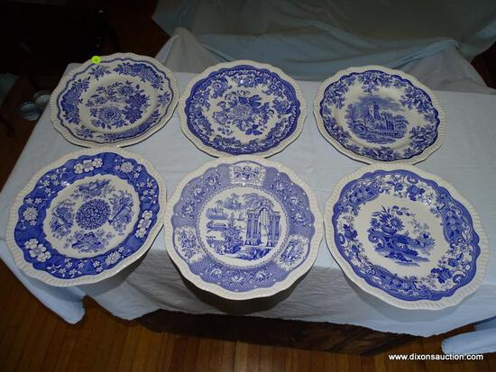 (LR) LOT OF SPODE BLUE ROOM COLLECTION DINNER PLATES; 6 PIECE LOT OF SPODE BLUE ROOM, SCALLOPED RIM,