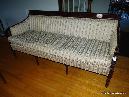 (LR) BIGGS SHERATON STYLE SOFA; MAHOGANY FRAMED, SHERATON STYLE, BIGGS SOFA WITH A BENCH CUSHION,