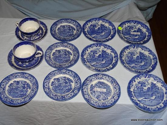 "(LR) LOT OF BLUE AND WHITE CHINA; 14 PIECE LOT TO INCLUDE A SET OF 5 LIBERTY BLUE ""MONTICELLO"" BREAD"