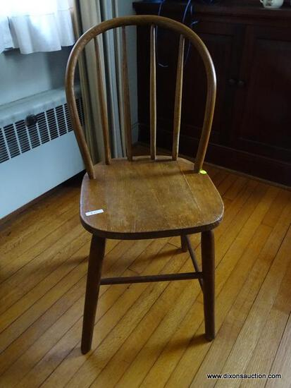 "(LR) ANTIQUE WINDSOR STYLE CHILD'S CHAIR. MEASURES 15"" X 15.5"" X 33.5""."