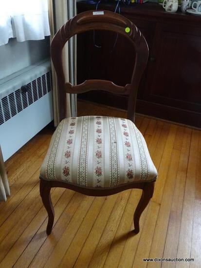 (LR) FRENCH PROVINCIAL STYLE SIDE CHAIR; VINTAGE MAHOGANY, FRENCH PROVINCIAL COUNTRY STYLE SIDE